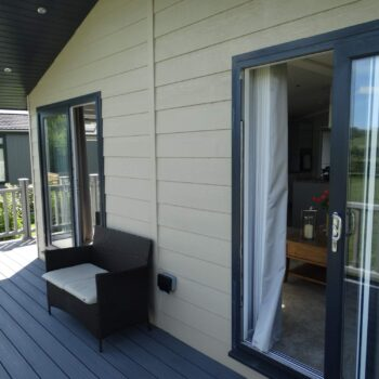 Double french doors on holiday home from deck