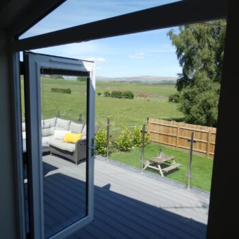 View across countryside from patio doors
