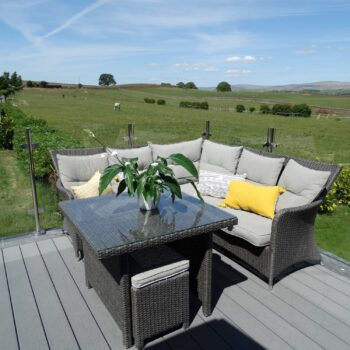 View across countryside from Moss Bank Lodges deck