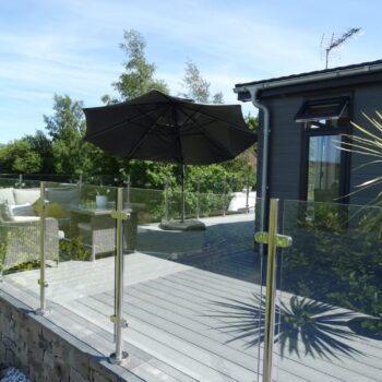 Close up of holiday home deck with furniture